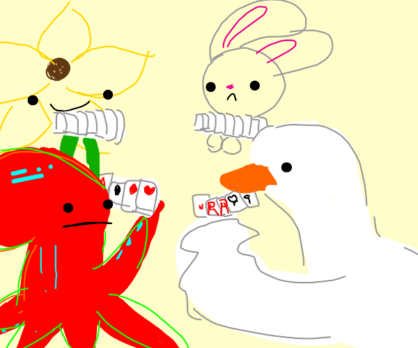 Octopus, bunny, goose, & sunflower play cards