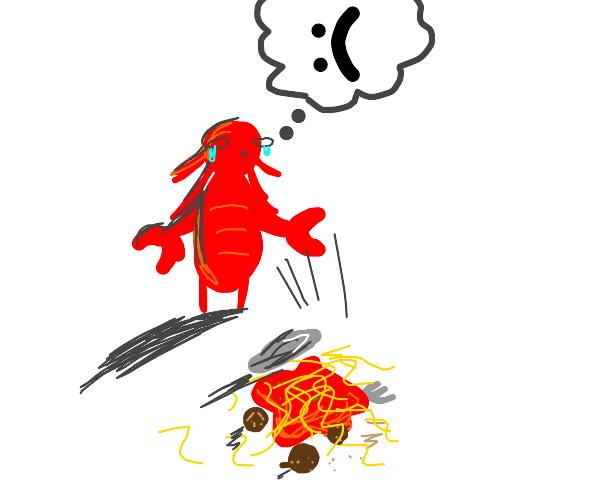 The lobster dropped his noodles :(((( v sad
