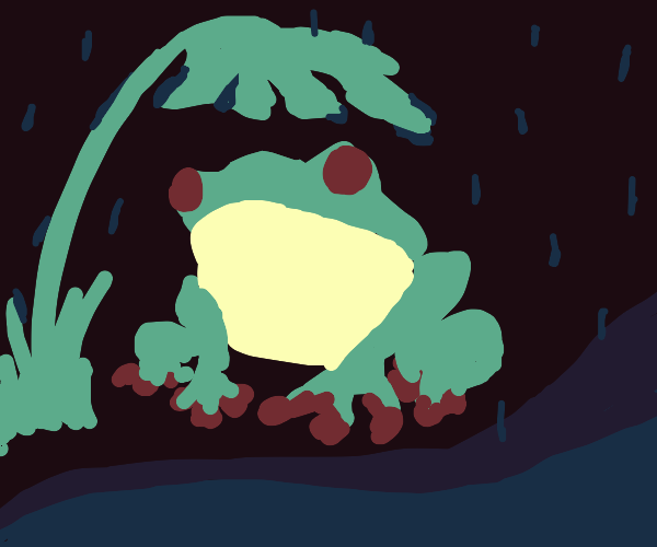 frog with a leaf umbrella