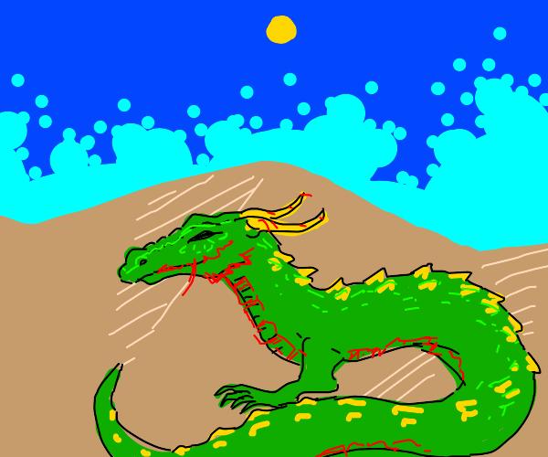 Wingless dragon sunbathing in the desert
