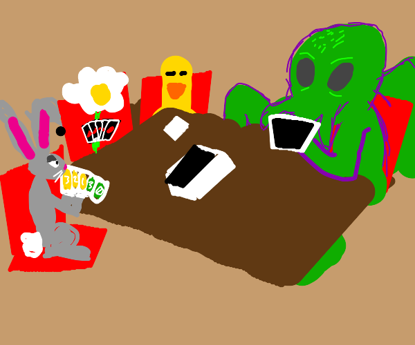 Cthulu a duck a flower and bunny playing uno