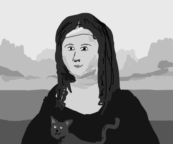 Mona Lisa with her cat
