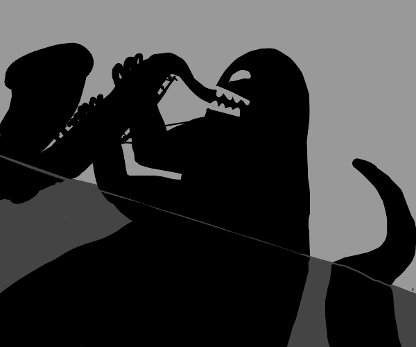shadow monster playing large black sax