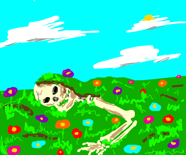 Partially buried skeleton in a flower field