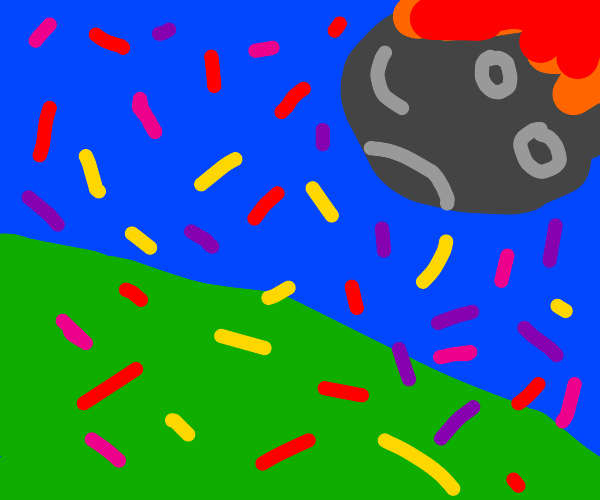 Meteor impact with confetti