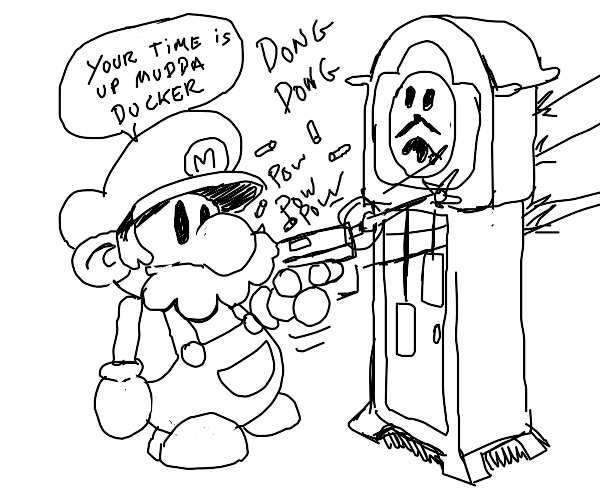 Mario gets a grandfather clock