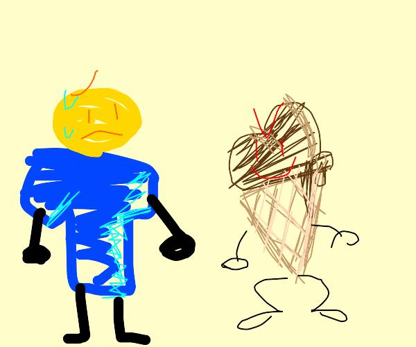 Blue Shirt Man Sweating at Sentient Ice Cream