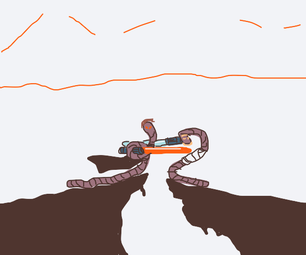 Two worms in a light saber battle