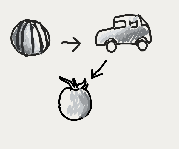 Melons turn into cars then tomato3s