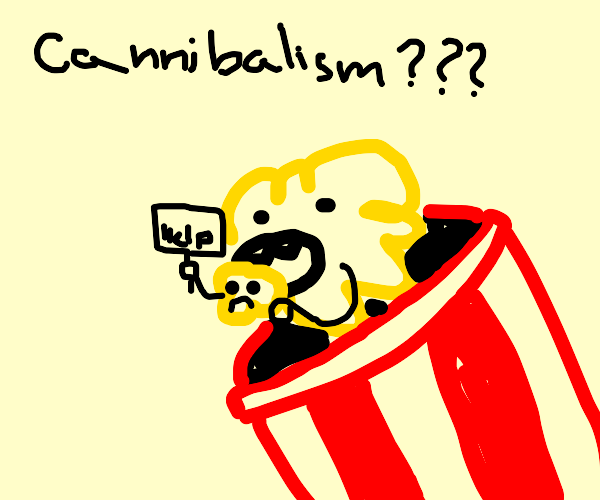 popcorn eating popcorn with a sign