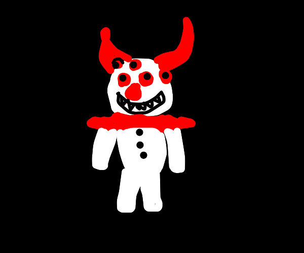 clown with horns and 5 eyes staring at you