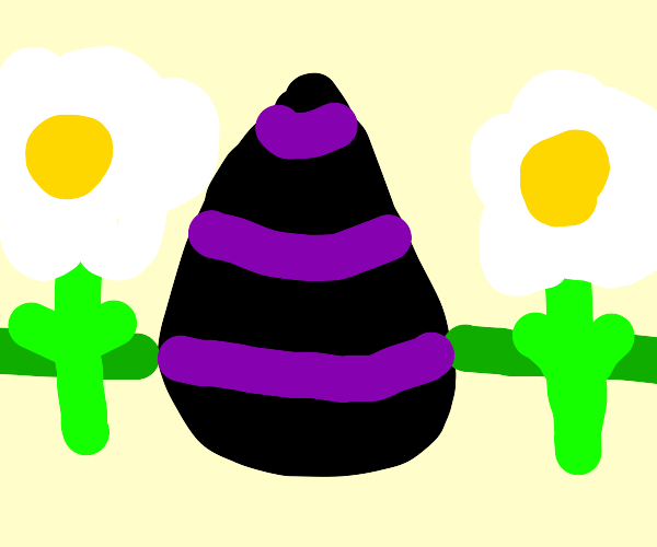 Large purple and black egg with purple flower