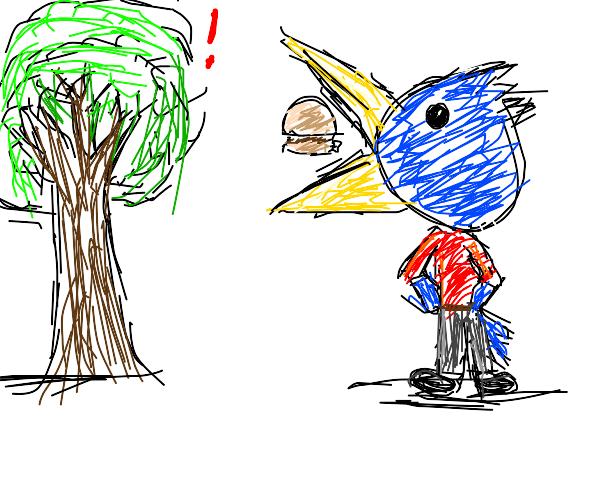 tree is shocked by bird man eating burger