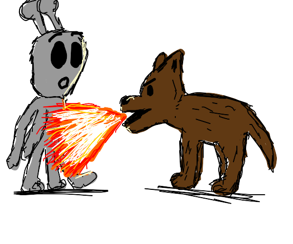 Dog uses flame breath on alien