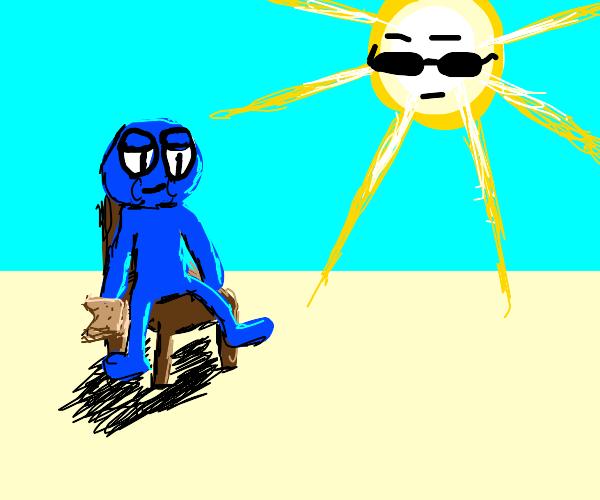 Blue droopy man eating sandwich as sun watche