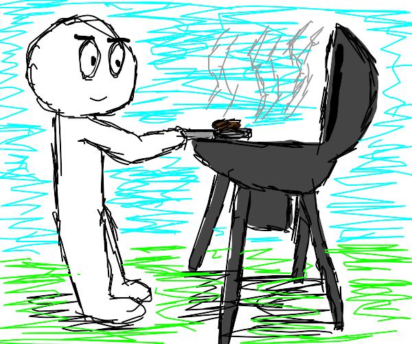 Man cooking a bbq