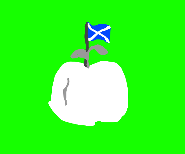 scotland flag but with a depigmented apple