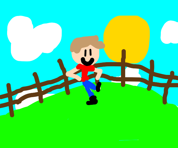 Person leaning on a fence in a field