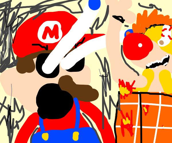 mario shocked as the blocks burn