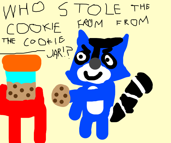 blue raccoon steals a cookie from cookie jar