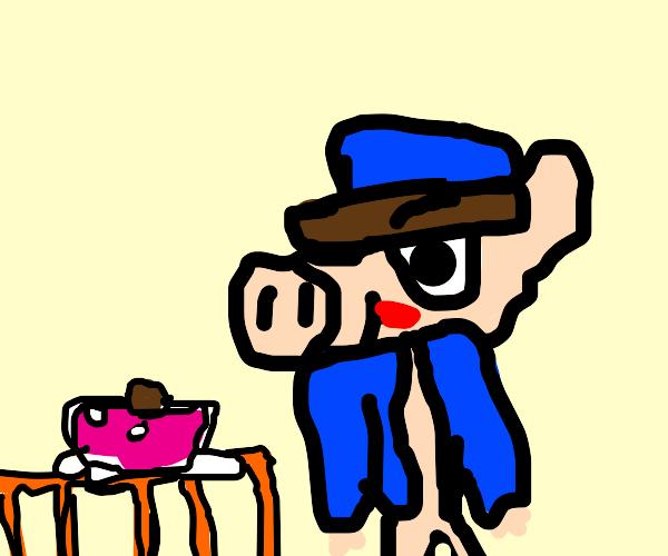 pig eating Peanut-Steak.