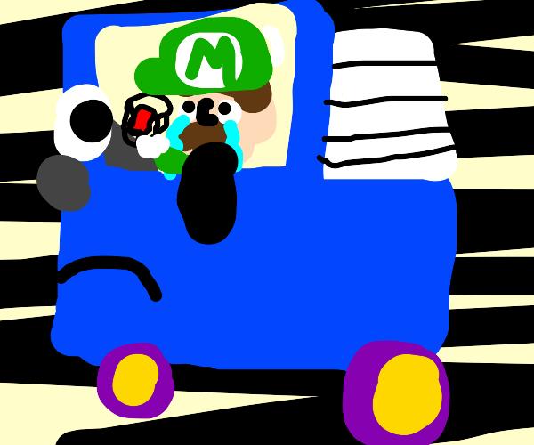 Sad luigi driving truck