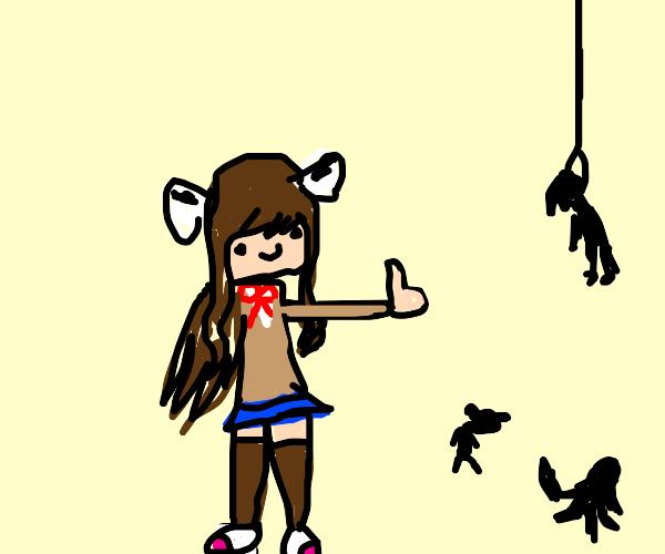 Monika from ddlc is happy