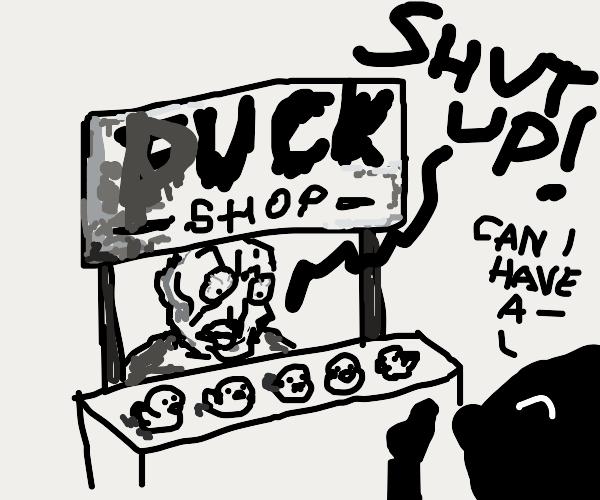 aggressive man selling ducks