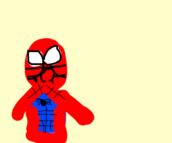 Spiderman is surprised.