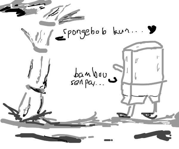 Bamboo-Senpai fena make spongebob-chan act up