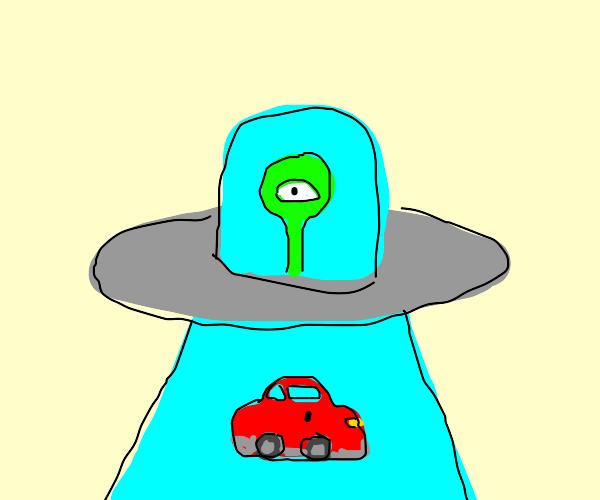 Cyclops in a ufo captures car