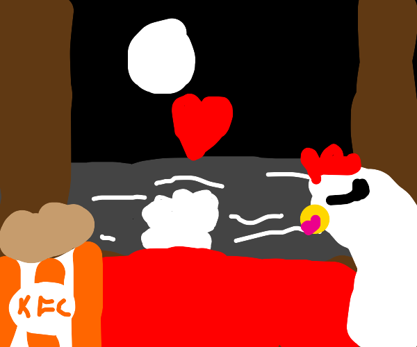 Hen in love with a piece of fried chicken