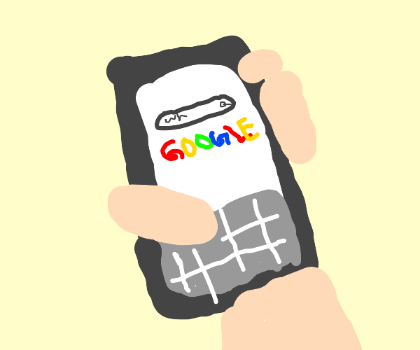A hand holding a phone & Googling something