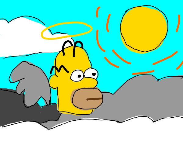 Homer simpson's head in heaven