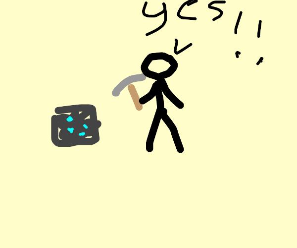 Man hakes a diamond