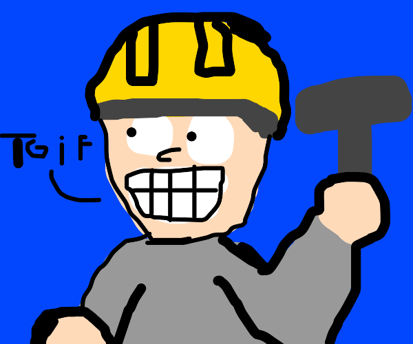 Worker guy saying tgif! and smiling