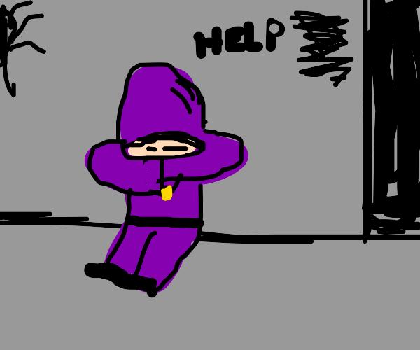purple nun silently begs for help