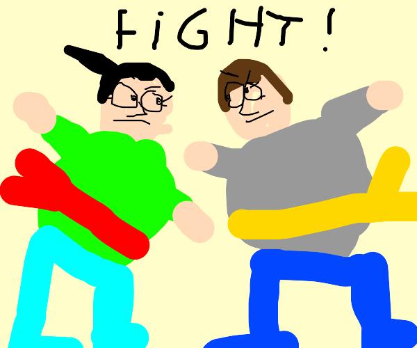 2 sumo wrestler (female) fighting