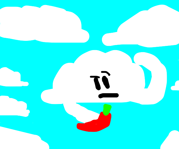 A gray cloud holds a chile pepper