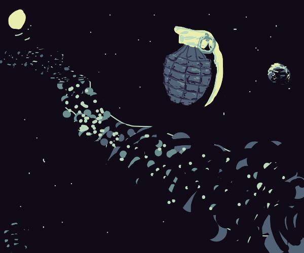 Grenade floating in space