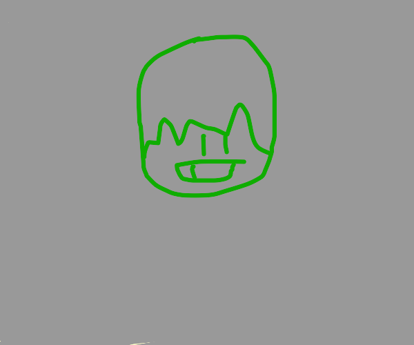 Green man with one tooth and big hair