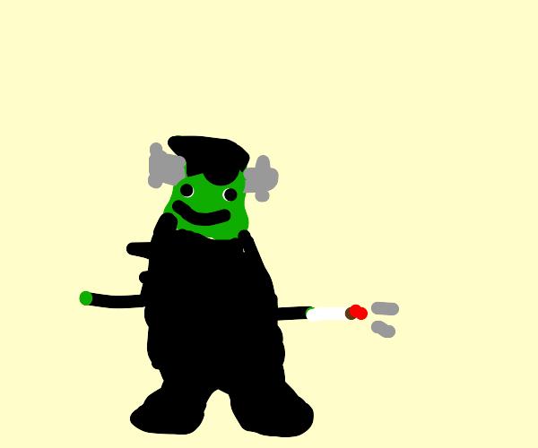 Frankenstein smoking a cigarette