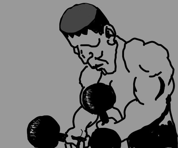 Cylindrical frankenstein headed strongman