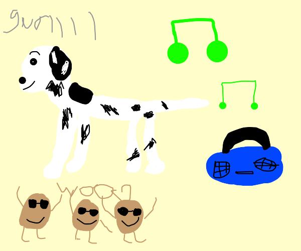 "a dalmatian vibing to jazz and saying ""gurrl"""