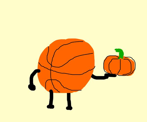 basketball with a pumpkin