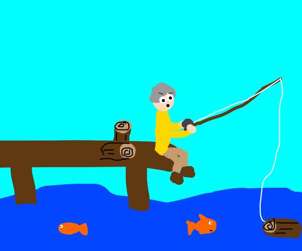 A guy caught a log fishing