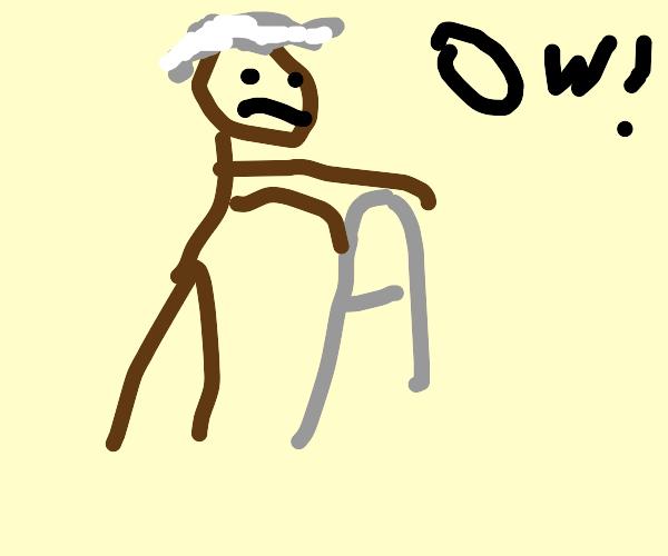 Elderly man has trouble walking