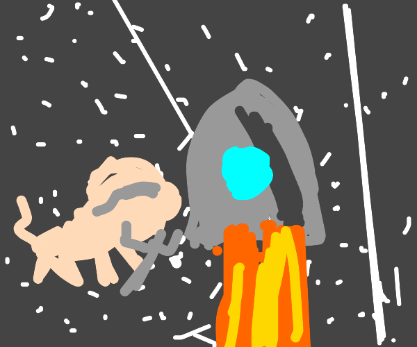 Scientist pig fixing a rocket in space