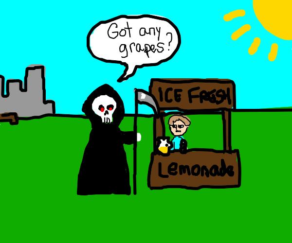Duck lemonade meme but its Grim Reaper
