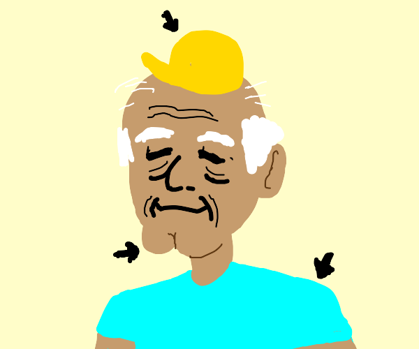 old guy, cleft chin, cyan shirt, yellow hat